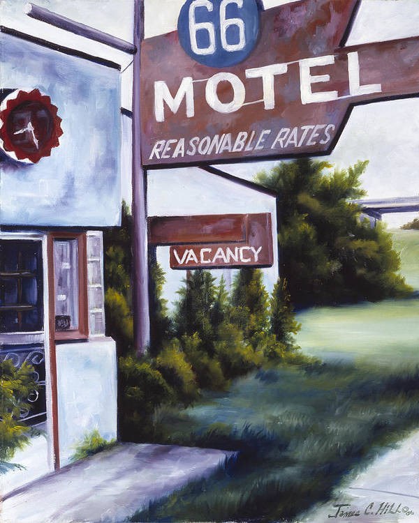 Motel; Route 66; Desert; Abandoned; Delapidated; Lost; Highway; Route 66; Road; Vacancy; Run-down; Building; Old Signage; Nastalgia; Vintage; James Christopher Hill; Jameshillgallery.com; Foliage; Sky; Realism; Oils Art Print featuring the painting A Road Less Traveled by James Christopher Hill