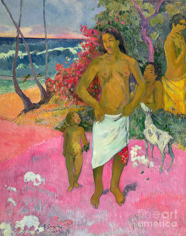 Paul Gauguin Art Print featuring the painting A Walk By The Sea by Paul Gauguin