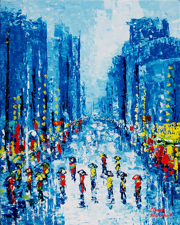 Abstract Art Print featuring the painting Across Town by Claude Marshall