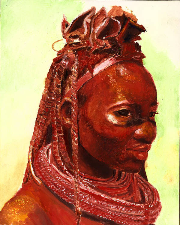 People Portrait Art Print featuring the painting African Beauty by Portraits By NC
