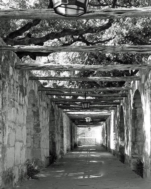 Alamo Corridor Art Print featuring the photograph Alamo Corridor by Debbie Karnes