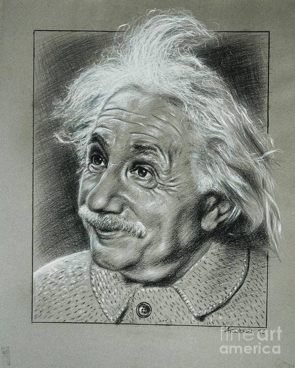 Portrait Of Albert Einstein Art Print featuring the painting Albert Einstein by Anastasis Anastasi