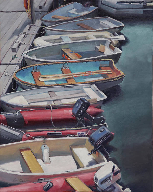 Dock Art Print featuring the painting All In A Row by Todd Baxter