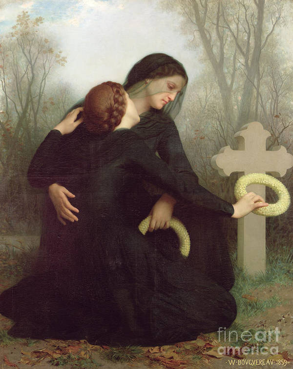 Le Jour Des Morts (all Saints Day) 1859 (oil On Canvas) By William-adolphe Bouguereau (1825-1905) Le Jour Des Morts; Female; Widow; Mourning; Grave; Cemetery; Gravestone; Tombstone; Black Veil; Child; Mother; Daughter; Sadness; Sorrow; Day Of The Dead; 1 November; Grave Art Print featuring the painting All Saints Day by William Adolphe Bouguereau