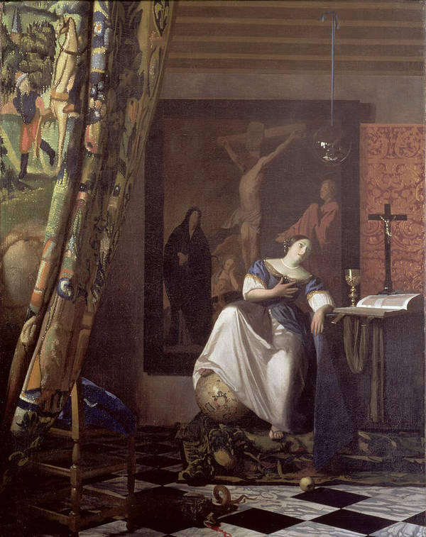 Vermeer Art Print featuring the painting Allegory Of The Faith by Jan Vermeer