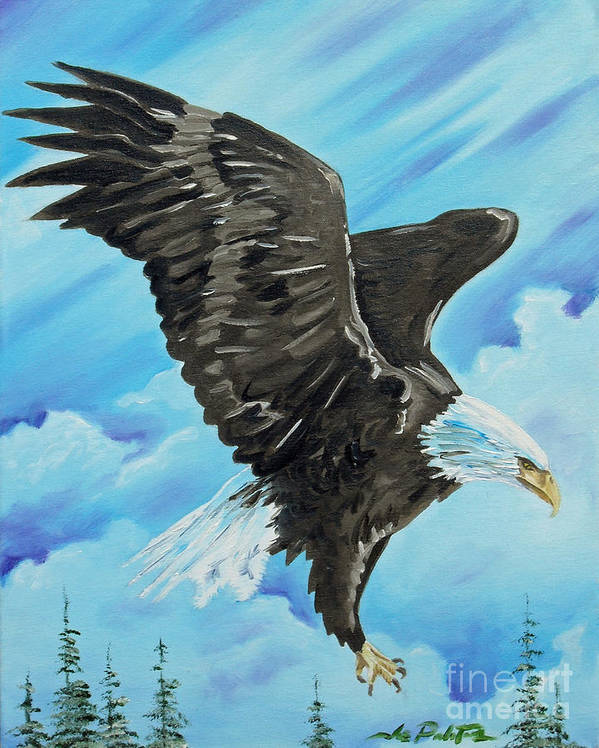 Bald Eagle Art Print featuring the painting American Flight by Joseph Palotas
