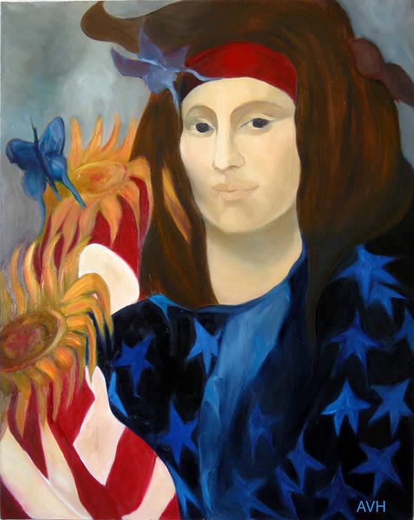 Figurative Art Print featuring the painting American Jokonda by Antoaneta Melnikova- Hillman