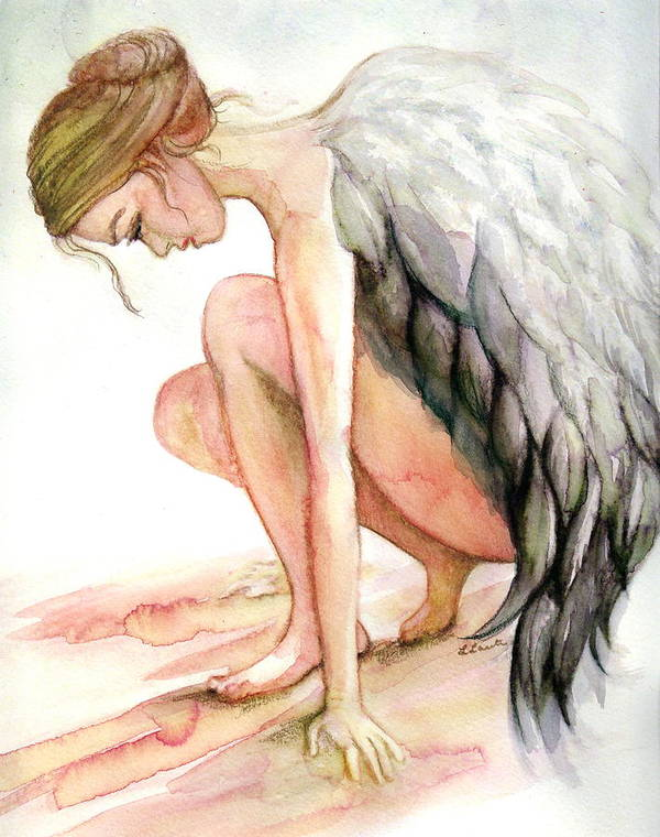 Angel Art Print featuring the drawing Angel Bowed by L Lauter