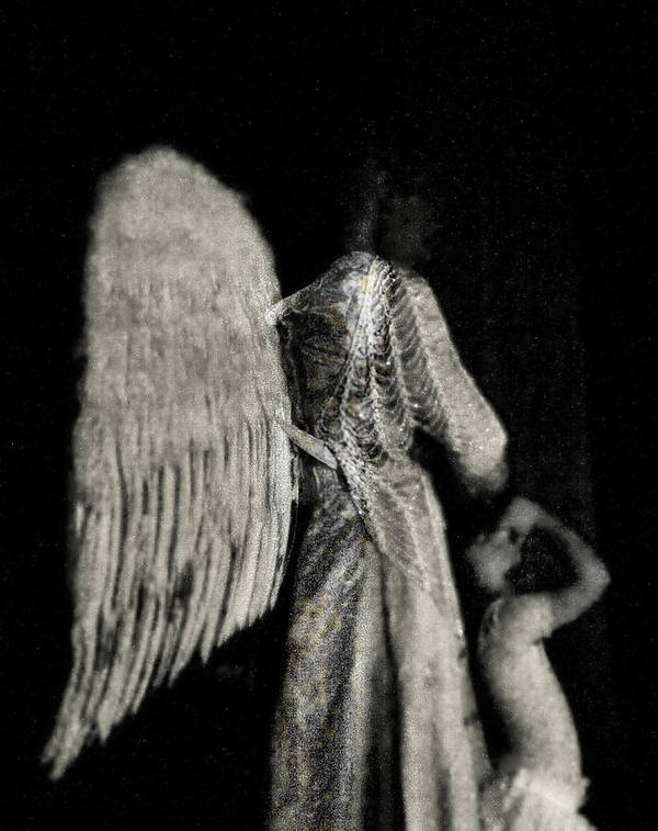 Digital Photography Art Print featuring the photograph Angel Bw by Tony Wood