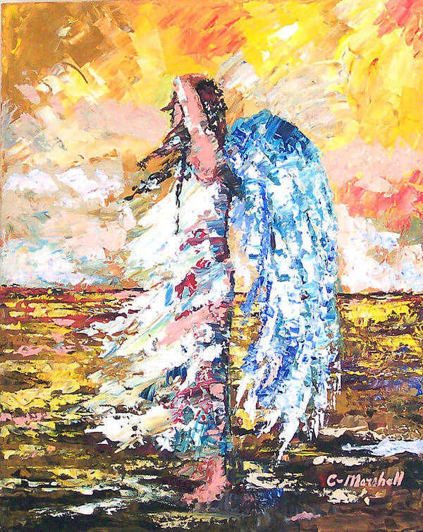 Art Art Print featuring the painting Angel In The Wind by Claude Marshall