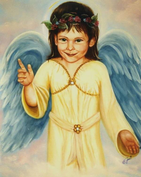 Portrait Art Print featuring the painting Angel In Yellow by Joni McPherson