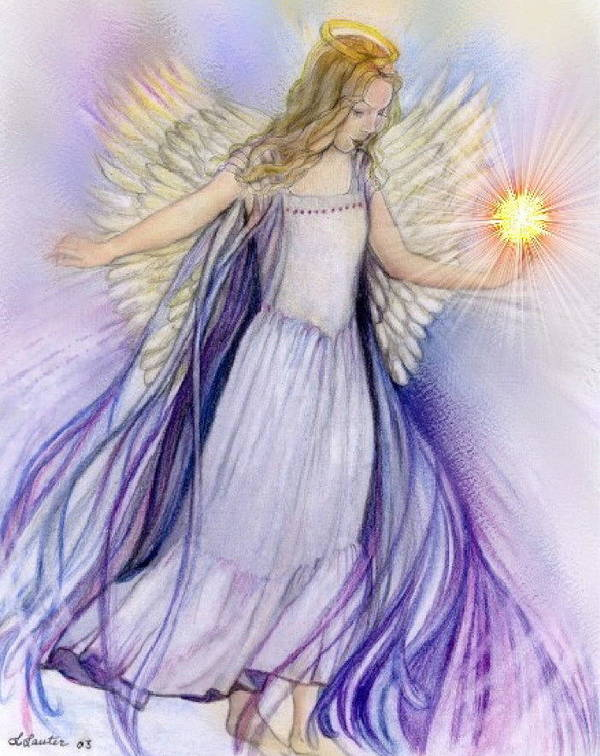Angel Art Print featuring the pastel Angel by L Lauter