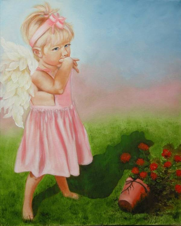 Angel Art Print featuring the painting Angel Thumbs by Joni McPherson