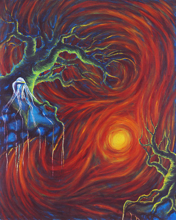 Tree Paintings Art Print featuring the painting Anxiety by Jennifer McDuffie