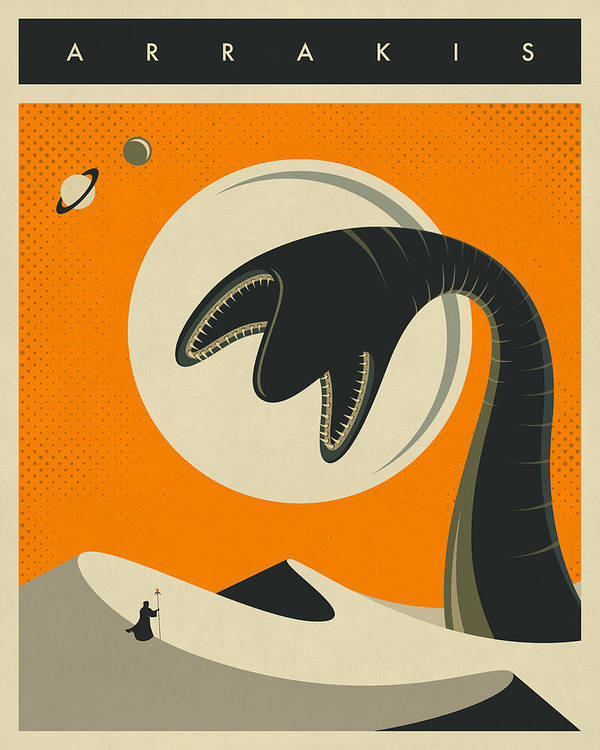 Dune Art Print featuring the digital art Arrakis Travel Poster by Jazzberry Blue