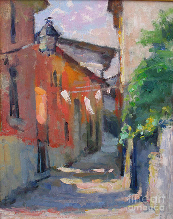 Plein-air Art Print featuring the painting At The End Of The Alley by Jerry Fresia