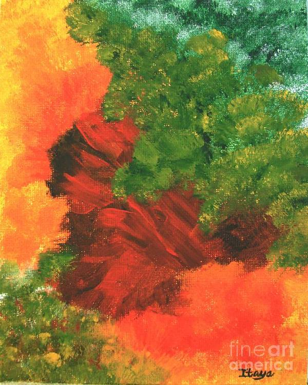 Abstract Art Print featuring the painting Autumn Equinox by Itaya Lightbourne