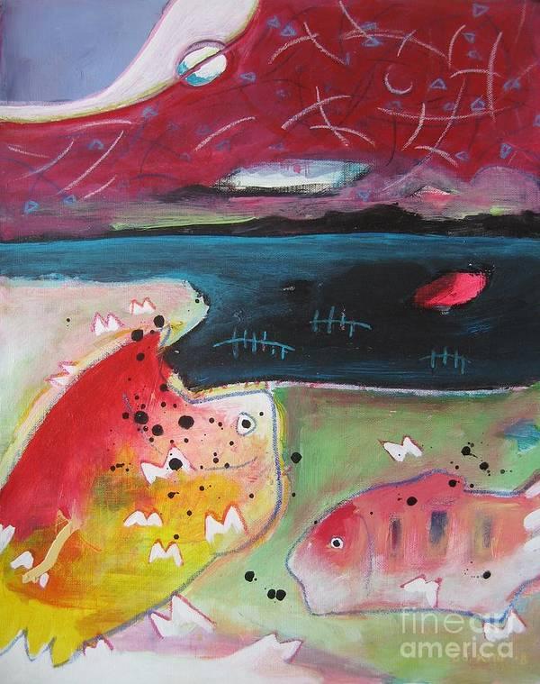 Acrylic Paintings Art Print featuring the painting Baieverte by Seon-Jeong Kim