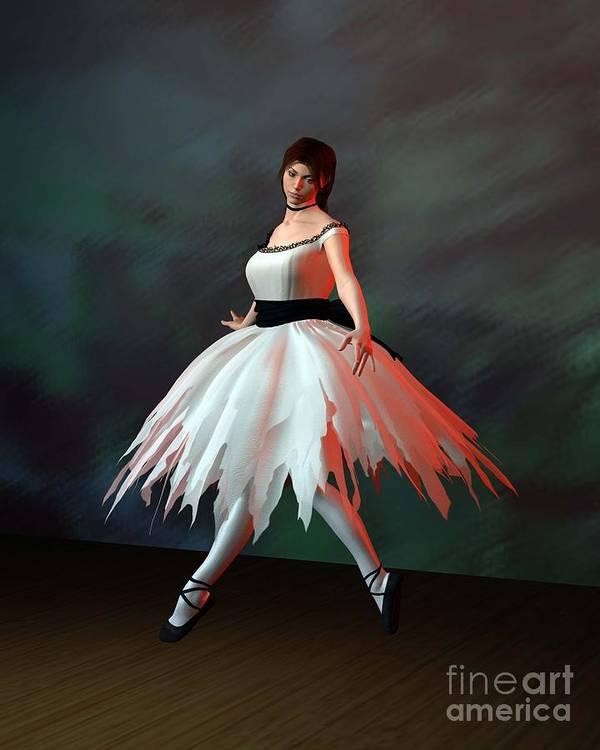 Ballet Art Print featuring the digital art Ballet Dancer by John Junek