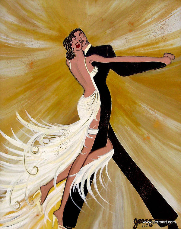 Dancers Artwork Art Print featuring the painting Ballroom Dance by Helen Gerro