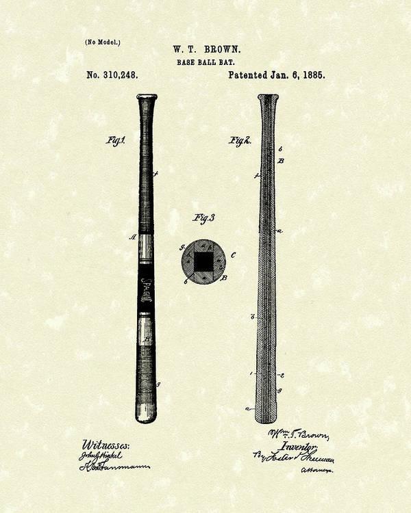 Baseball Print featuring the drawing Baseball Bat 1885 Patent Art by Prior Art Design