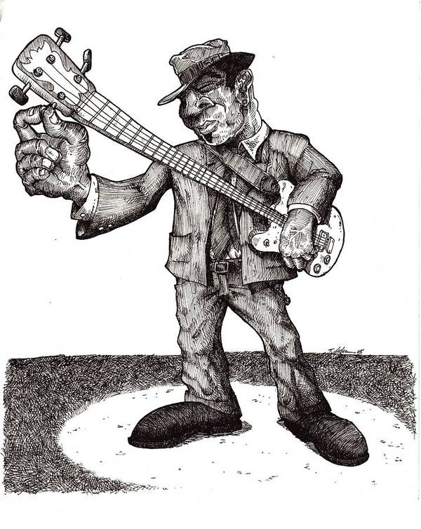 Blues Art Print featuring the drawing Bass by Tobey Anderson