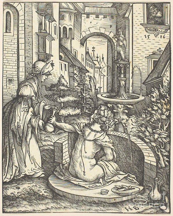 Art Print featuring the drawing Bathsheba At Her Bath by Hans Burgkmair I