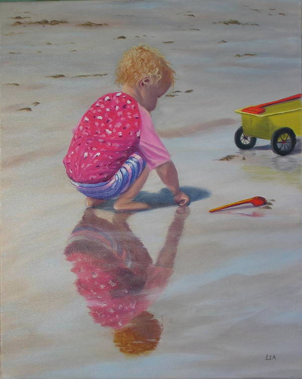 Baby Art Print featuring the painting Beach Baby by Lea Novak