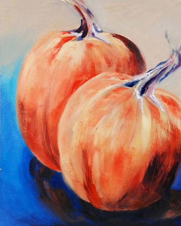 Art Print featuring the painting Bear's Mill Punkins by Donna Pierce-Clark