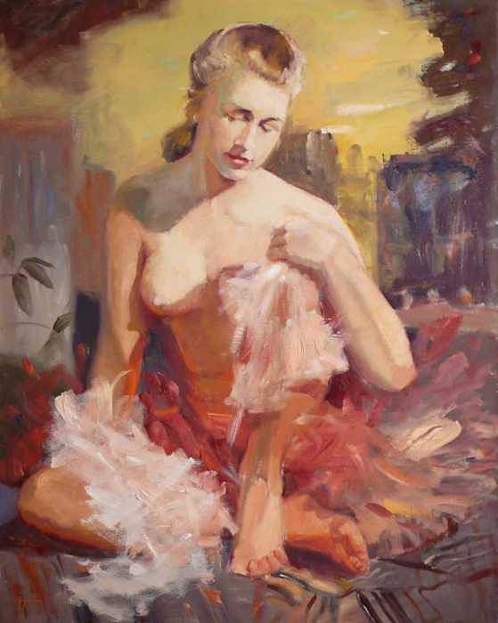 A Seated Figure Of A Pensive Delicate Girl In A Contemporary Ballet Attire Art Print featuring the painting sold Before Dance by Irena Jablonski