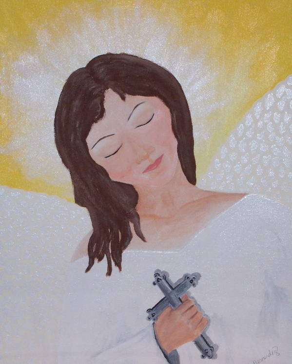 Angel Art Print featuring the painting Believe by Jennifer Hernandez