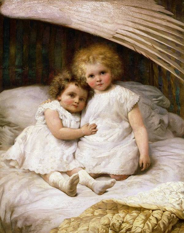 Beds; Bedchamber; Protection; Angel; Guardian Art Print featuring the painting Beneath The Wing Of An Angel by William Strutt