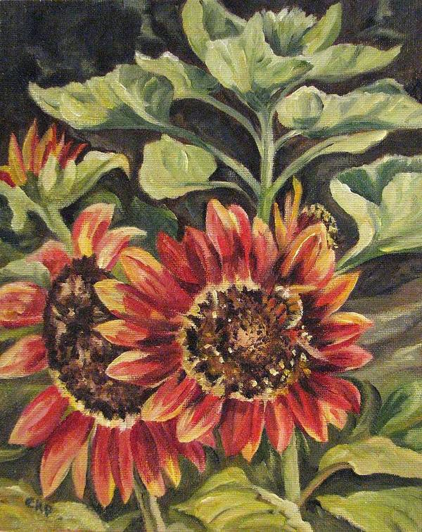 Floral Art Print featuring the painting Betsy's Sunflowers by Cheryl Pass