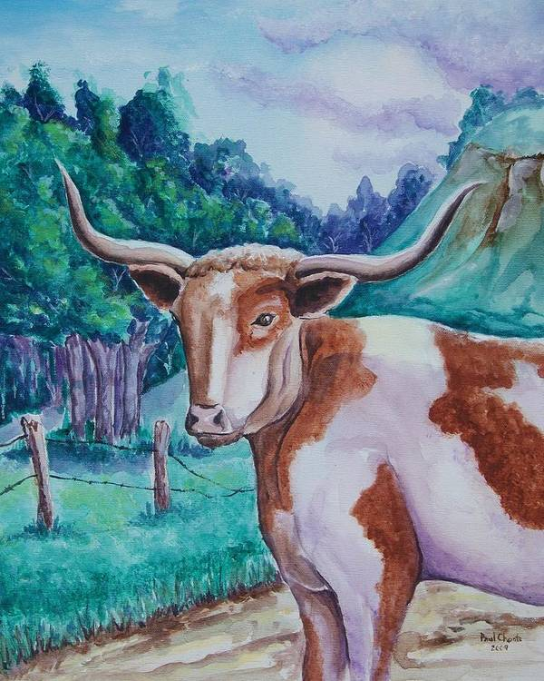 Longhorn Art Print featuring the painting Bevo Road by Paul Choate