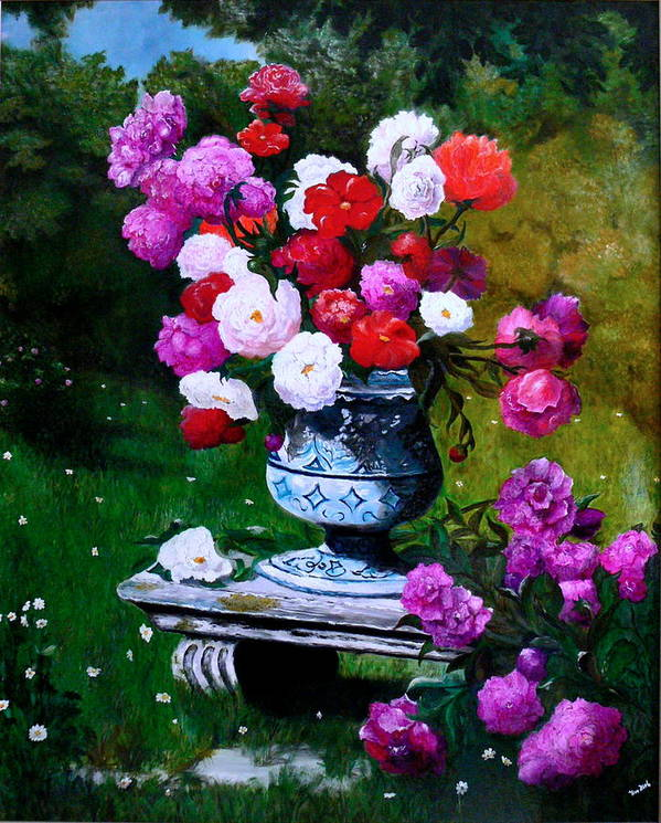 Stilllife Art Print featuring the painting Big Vase With Peonies by Helmut Rottler
