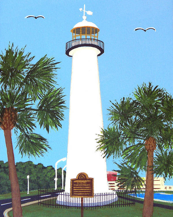 Lighthouse Paintings Art Print featuring the painting Biloxi Lighthouse by Frederic Kohli