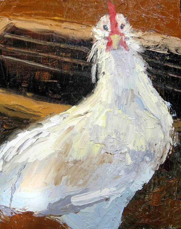 Chicken Art Print featuring the painting Bird Brain by Char Wood