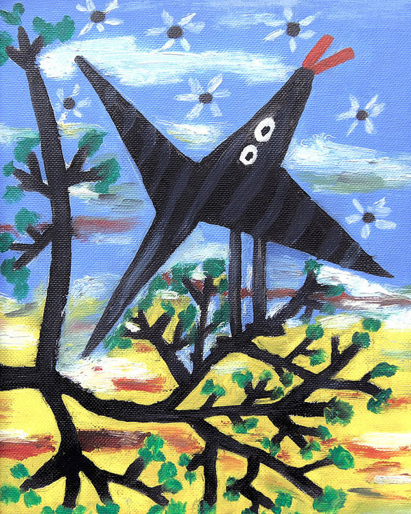 Abstract Art Print featuring the painting Bird On A Tree After Picasso by Alexandra Jordankova