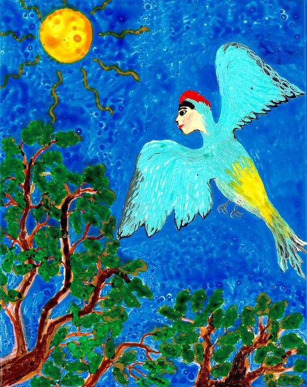 Sue Burgess Art Print featuring the painting Bird People Green Woodpecker by Sushila Burgess