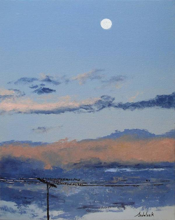 Landscape Art Print featuring the painting Birds On A Wire by Barbara Andolsek