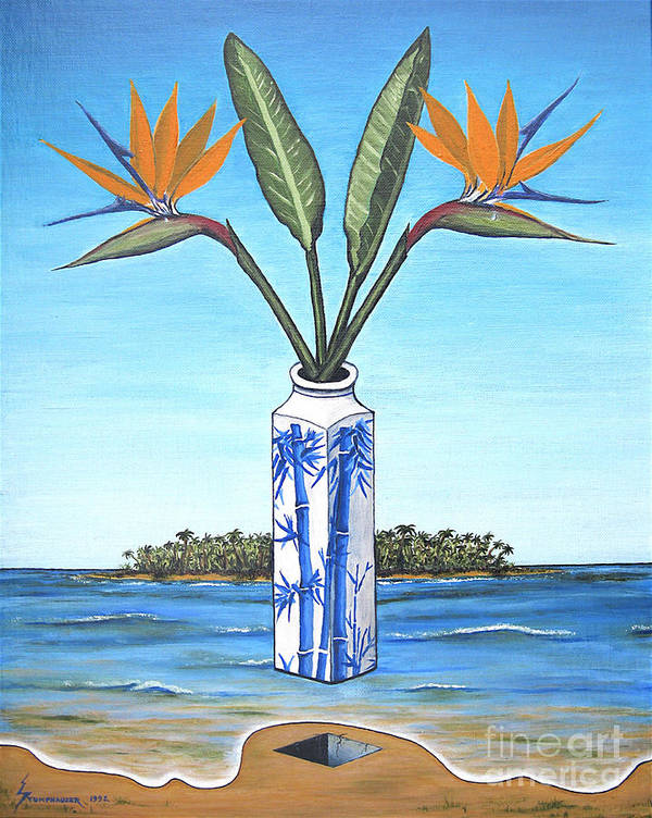 Bird Of Paradise Art Print featuring the painting Birds Over Paradise Flowers by Jerome Stumphauzer