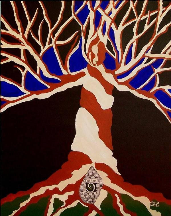 Abstract Tree Art Print featuring the painting Birth by Carolyn Cable