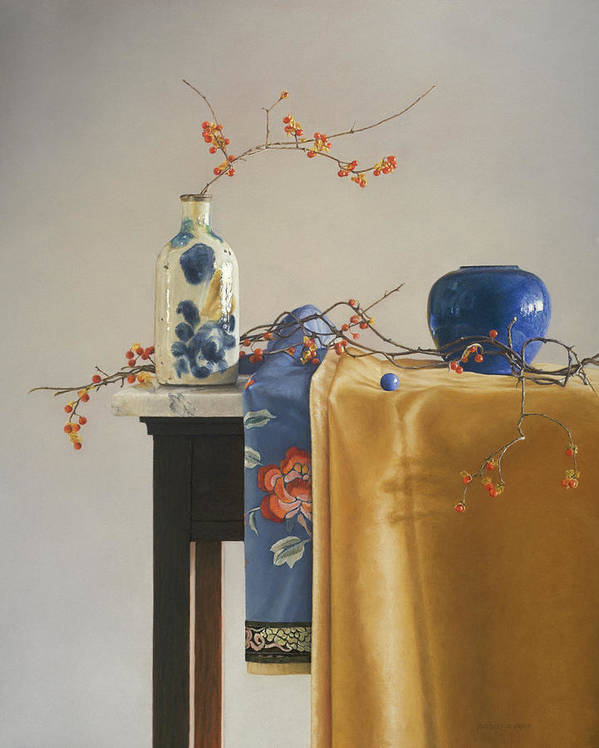 Still Life Print featuring the painting Bittersweet With Blue by Barbara Groff