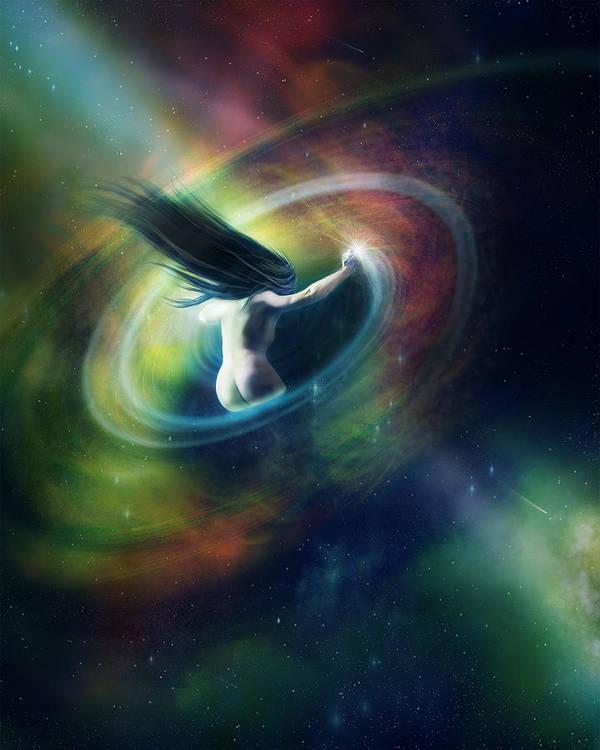 Sci Fi Art Print featuring the digital art Black Hole by Mary Hood