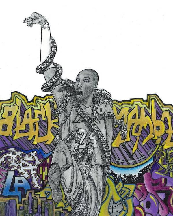 Kobe Bryant Art Print featuring the drawing Black Mamba by Steve Weber