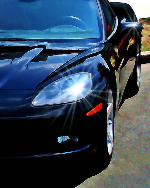 Car Art Print featuring the photograph Black Vette by Perry Webster