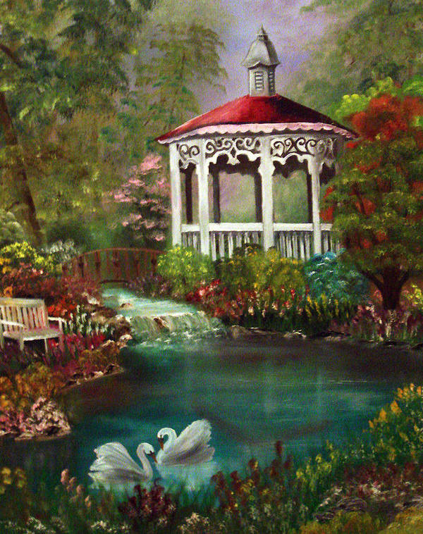 Gazebo Art Print featuring the painting Blissful Day by Darlene Green