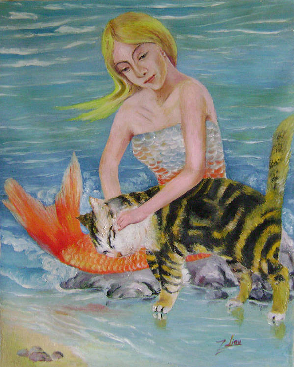 Surrealist Art Print featuring the painting Blond Mermaid And Cat by Lian Zhen