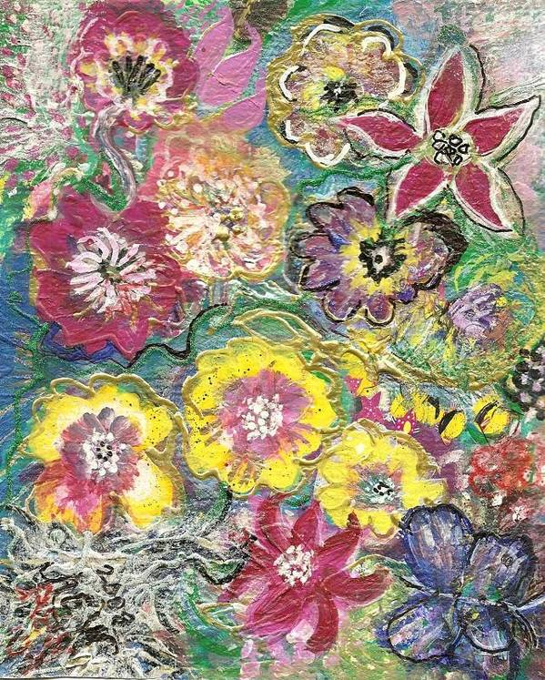 Blooms Art Print featuring the mixed media Blooms And Butterfly by Anne-Elizabeth Whiteway