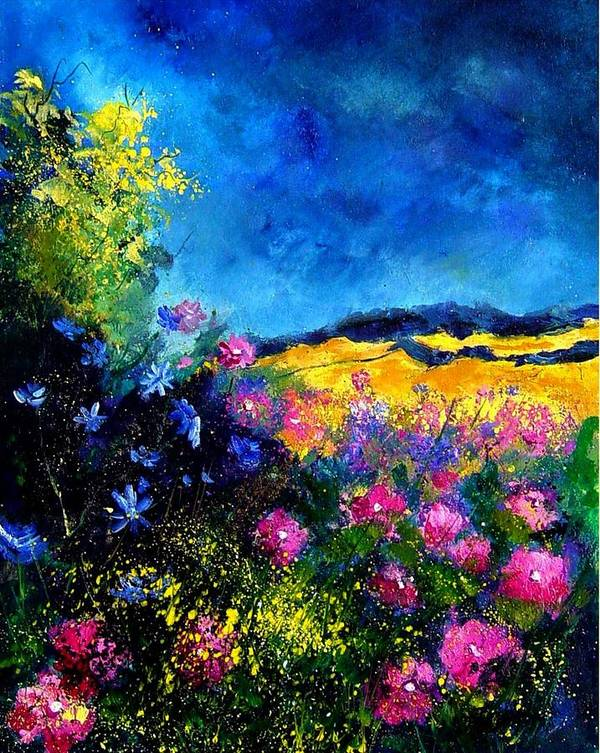 Landscape Art Print featuring the painting Blue And Pink Flowers by Pol Ledent